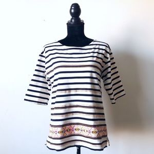 J. Crew Jared Striped embroidered tee